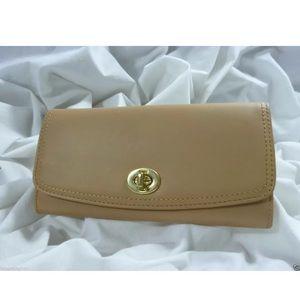 COACH Legacy Leather Slim Envelope Wallet Sand